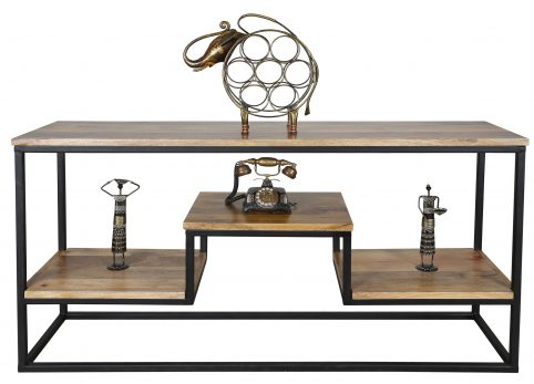 contemporary industrial theme coffee table with rustic charm