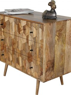 Unique hexagonal pattern light mango chest of 3 drawers with wooden legs