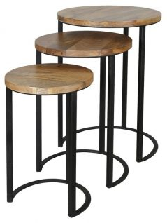 set of 3 light mango wood nest of 3 tables with round table top and metal iron stand