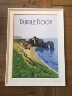 Vintage style framed Durdle door print