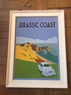 Vintage style framed Jurassic Coast print