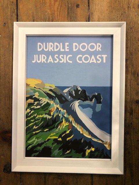 vintage style framed print of Durdle door Jurassic coast