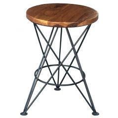 Industrial style sheesham wood side table with solid iron stand