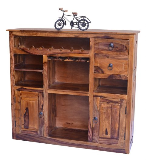 Sheesham Wood drinks cabinet with 2 drawers and 2 doors