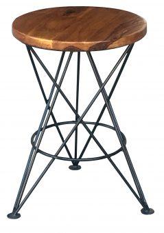 sheesham wood side table/ bar stool with metal legs