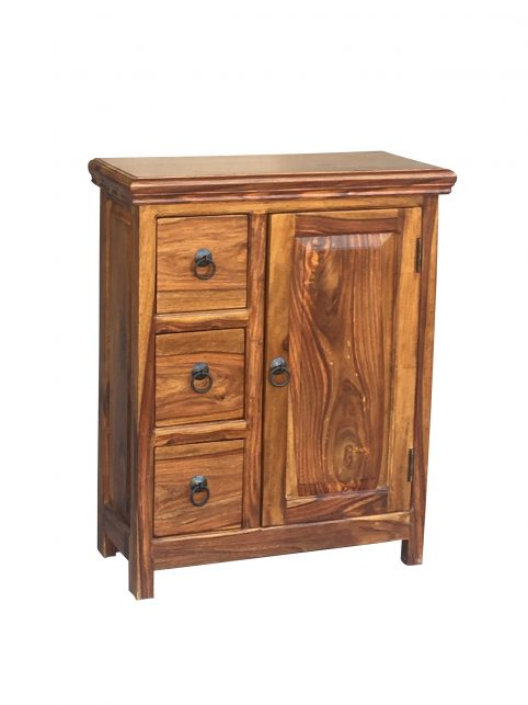 Small Sheesham wood cabinet with 3 drawers and 1 door
