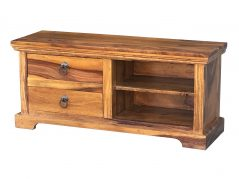 Small Sheesham wood TV unit/TV stand with 2 drawers and 2 shelves