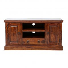 Sheesham wood TV stand with 2 shelves, 2 doors and 1 drawer