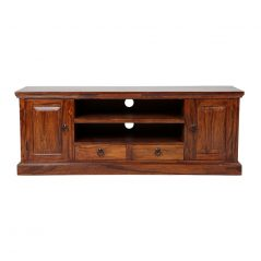Sheesham wood TV stand / media unit with 2 shelves, 2 doors and 2 drawers