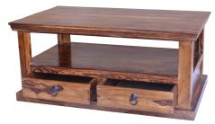 Sheesham wood coffee table with 2 drawers
