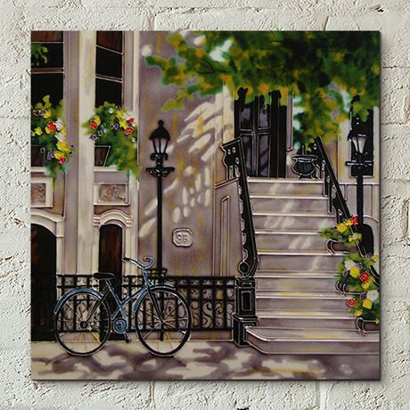 Floral Staircase Ceramic Tile Wall Art