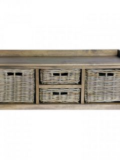 Handmade rattan storage bench with baskets