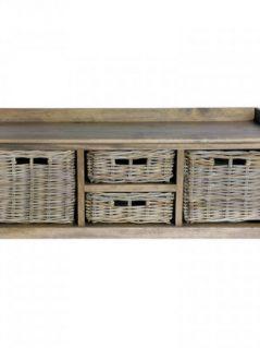Handmade rattan storage bench with baskets