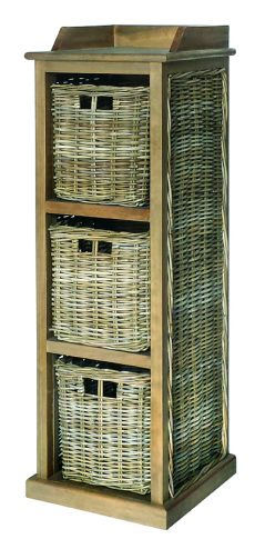 Handmade grey wash rattan 3-basket storage unit