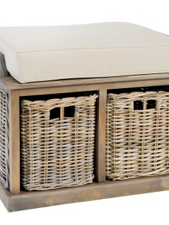 Handmade grey washed rattan storage bench
