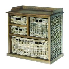 Handmade grey wash rattan 5-basket storage unit