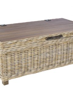 Handmade grey washed rattan storage coffee table