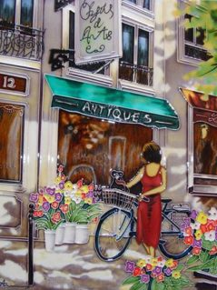 Stroll in Paris ceramic tile wall art