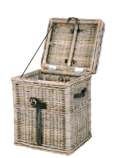 handmade grey wash rattan linen basket