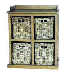 handmade rattan furniture 4-basket storage unit