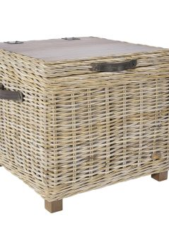 handmade grey wash rattan storage unit side table
