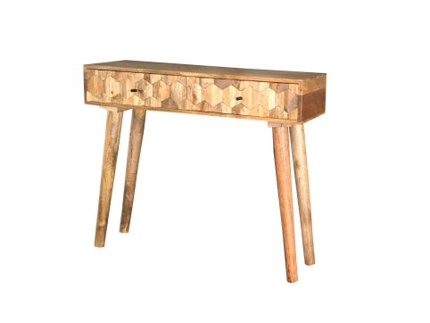 2-drawer light mango wood hexagonal patters-console table