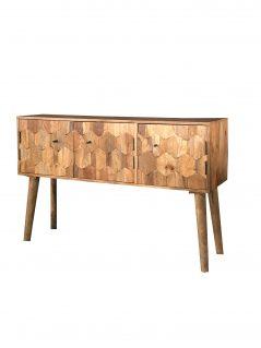 3-door light mango wood hexagonal sideboard