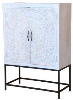 Bohemian range white washed painted 2-door raised sideboard