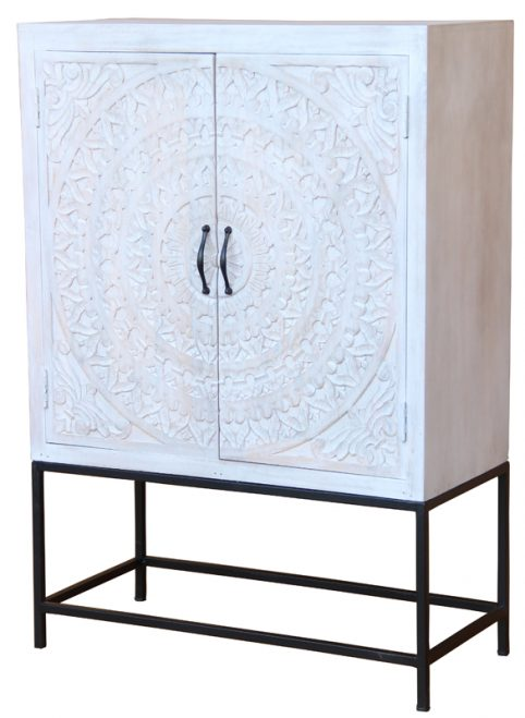 Bohemian range white washed painted 2-door raised sideboard