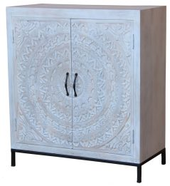 Bohemian range white washed wooden 2-door sideboard