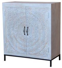 Bohemian range white washed wooden 2-door sideboard