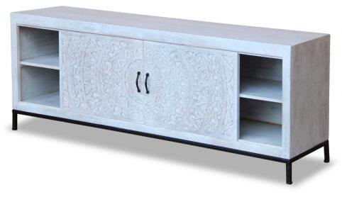 Bohemian range white washed wooden TV stand / media unit