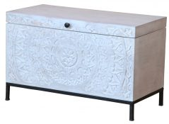 Bohemian range white washed wooden blanket storage box
