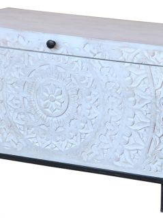 Bohemian range white washed wooden blanket storage box