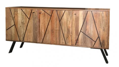 Urban Retro Range Industrial Style 3-door Sideboard with Metal Legs