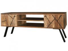 Urban Retro Range Industrial Style Light Mango Wood 2-door TV Stand / Media Unit