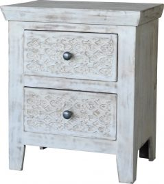 Hampi limed washed carved mango range 2-drawer lamp table