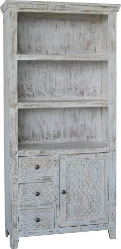 Hampi limed washed carved mango range bookcase