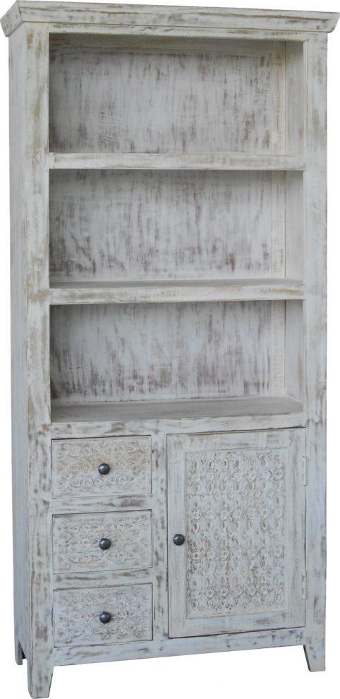 Hampi limed washed carved mango range bookcase