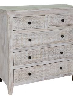 Hampi limed washed carved mango range chest of drawer