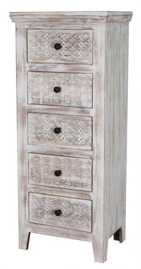 Hampi limed washed carved mango range chest of drawer tallboy
