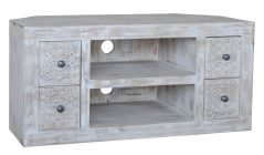 Hampi limed washed carved mango range large media unit