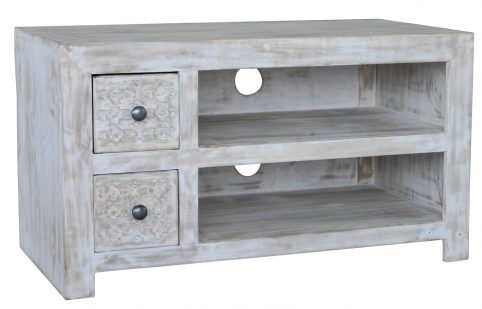 Hampi limed washed carved mango range small media unit