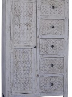 Hampi limed washed carved mango range storage unit