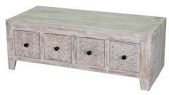 Hampi limed washed carved mango wood coffee table