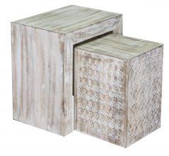 Hampi limed washed carved mango wood nest of 2 tables