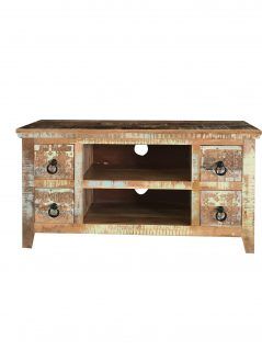 Hand-carved re-claimed natural mango hardwood small media unit