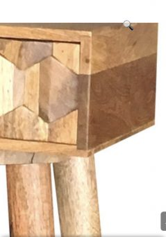 2-drawer light mango wood hexagonal patterned console table / hall table