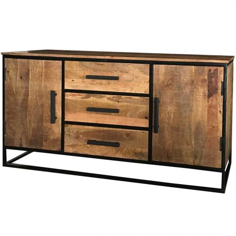 Industrial Style Light Mango Wood 2-door 3-drawer Sideboard