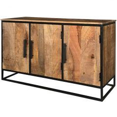 Industrial Style Light Mango Wood 3-door Sideboard